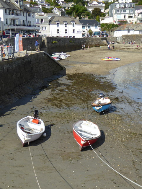 Boats in St Mawes harbour at low tide