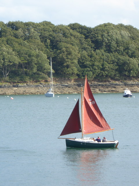 A Cornish Crabber sailing boat in St Mawes Harbour