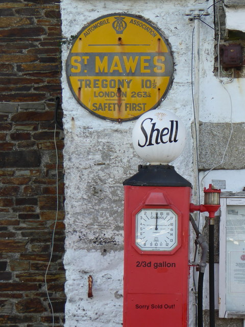 Signs at the former garage in St Mawes