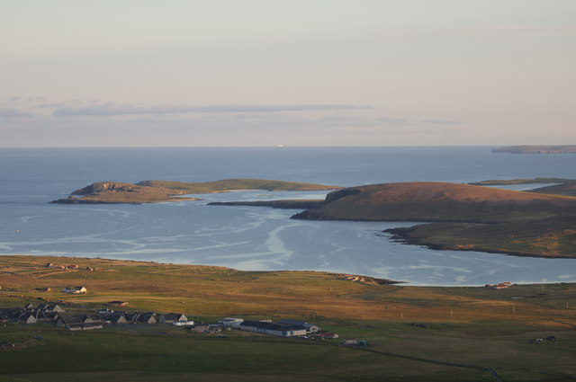 Haroldswick and Balta isle from Sothers Field