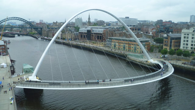 The Gateshead Millennium Bridge from the viewing platform on the Baltic Centre
