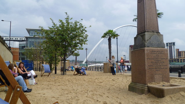 The Quayside Seaside beside the River Tyne in Newcastle in August