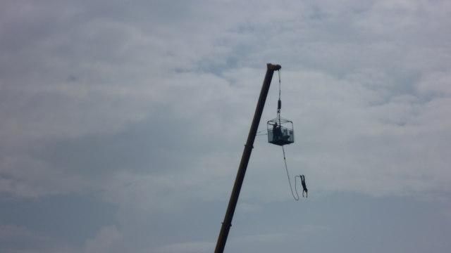 Bungee jumper above the Tyne in Gateshead
