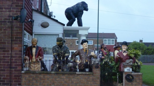 Fibreglass figures in a front garden in South Shields