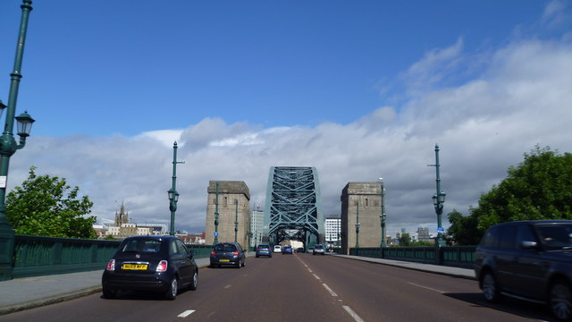 Driving towards the Tyne Bridge in Newcastle upon Tyne