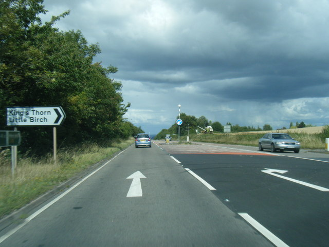 A49 northbound at Kings Thorn turn