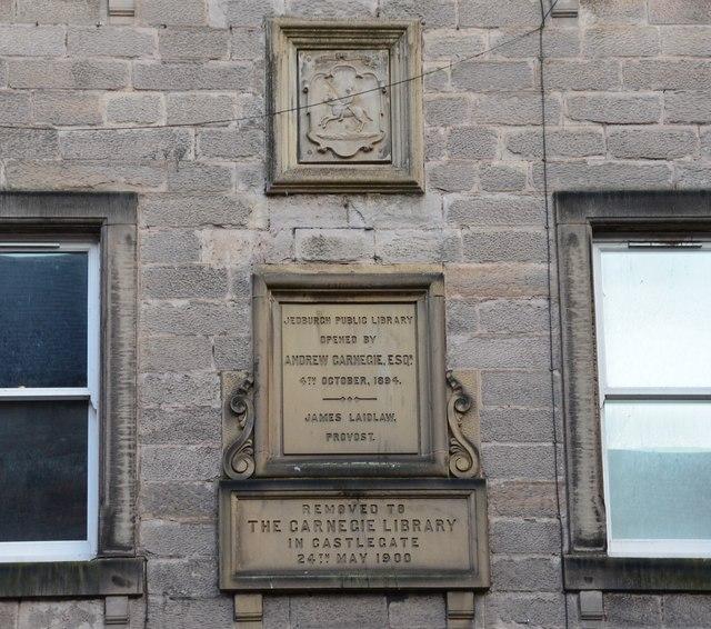 Carnegie Library plaque, Jedburgh