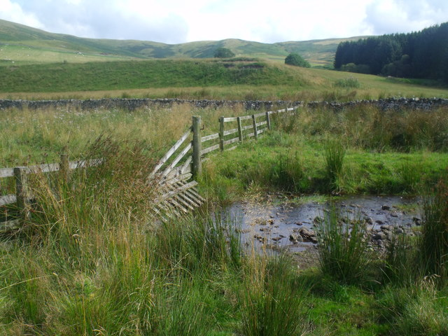 Water-gate on fenceline crossing Atton Burn near Yetholm