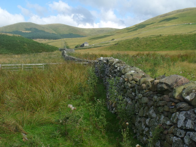 Drystane dyke on Atton Burn in the Bowmont valley near Yetholm