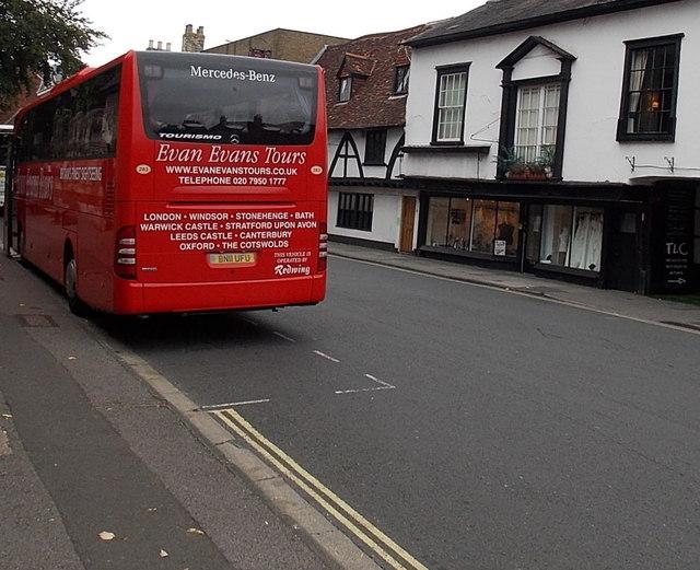 Vivid red tour coach in Salisbury