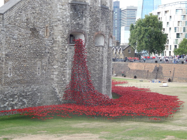 Poppies coming out of the Tower of London