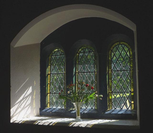 Flowers in the window, St Leonard's Church, Chapel-le-Dale