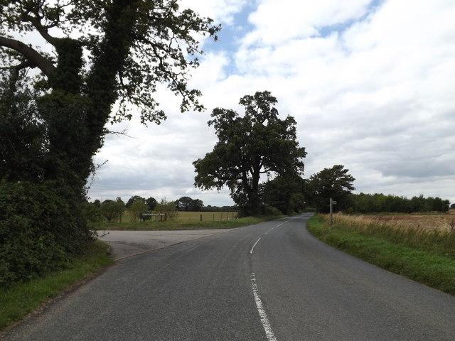 B1068 at  the entrance to Stratford Hills Farm