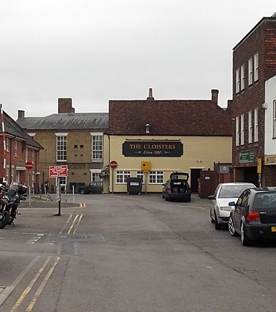 North side of The Cloisters pub in Salisbury