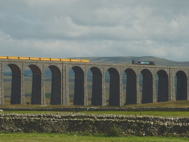 Freight train crossing the Ribblehead Viaduct