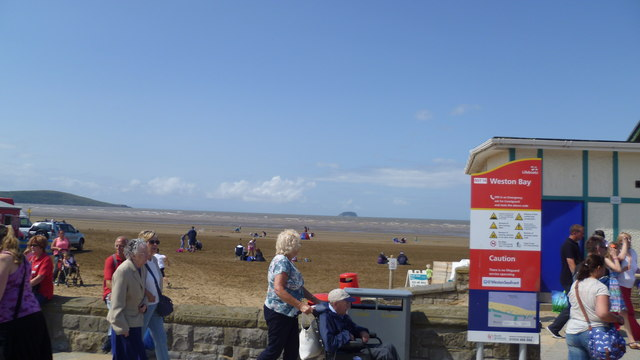 View out to Steepholm in Weston Bay from Weston-super-Mare