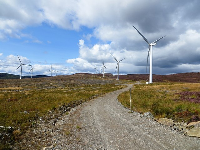 Road and turbines on Ben Salachill
