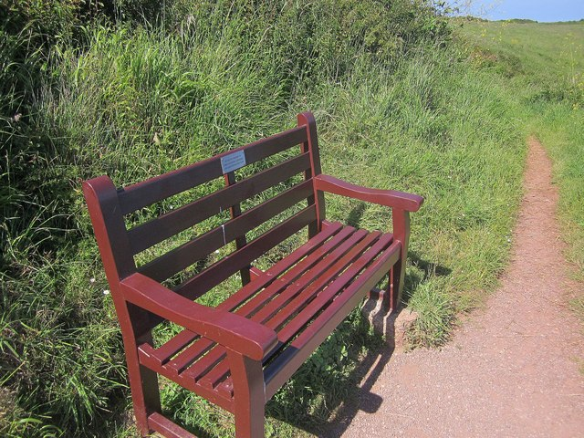 Seat by the coast path