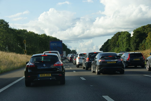 Standing traffic on the M6 by Junction 17