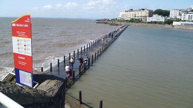 Trackway along the wall of the Marine Lake in Weston-super-Mare