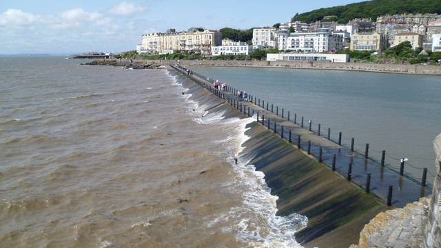 The Marine Lake wall walkway at Weston-super-Mare