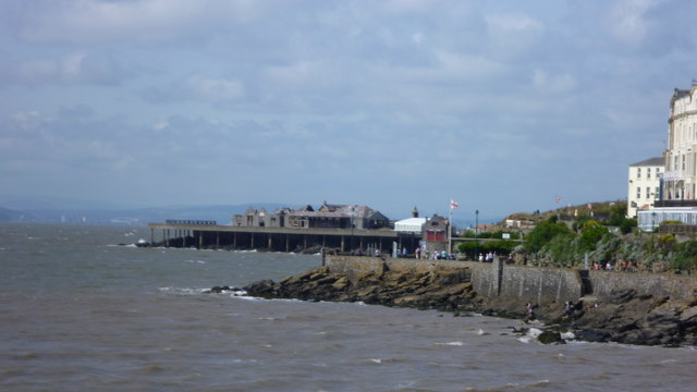 View to Birnbeck Pier and Island from Knightstone Island in Weston-super-Mare