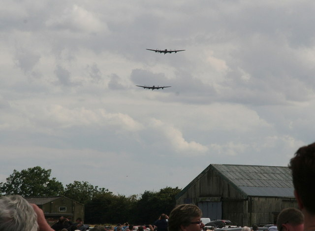 Lancaster fly-past at Strubby and unveiling of airfield memorial