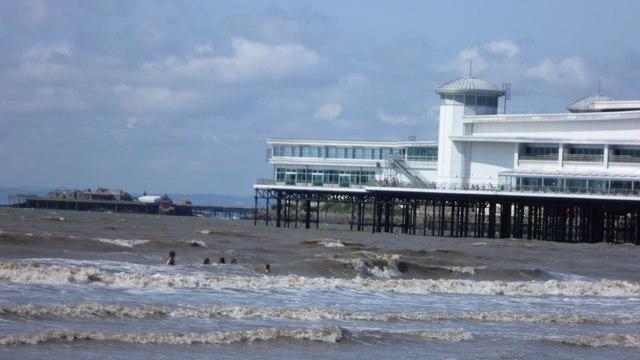 Children in the waves off Weston-super-Mare in August