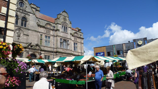 Part of the open air market in the town centre, Oswestry