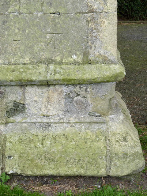 Bench mark, St Oswald's Church, Dunham on Trent