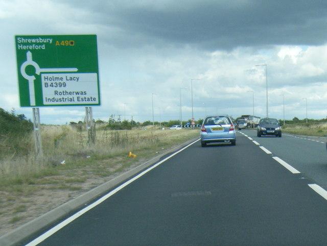 A49 nears Grafton roundabout