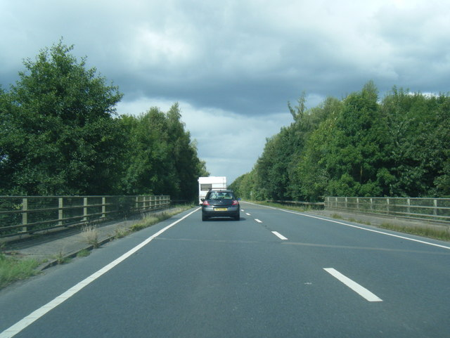 A49 at bridge over the River Lugg