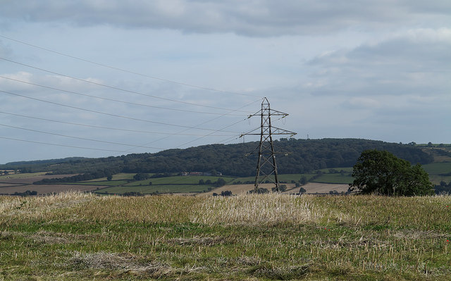 Stubble field with pylon