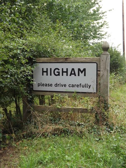 Higham Village Name sign on the B1068