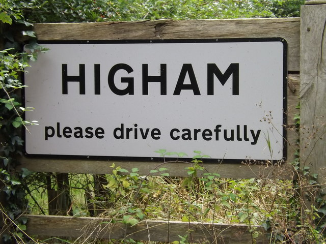 Higham Village Name sign on the B1068
