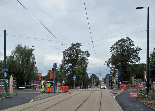 Where the trams will cross Robin Hood Way