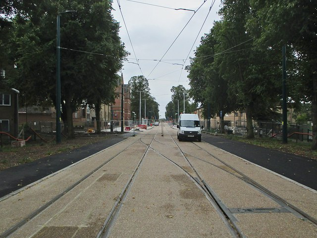 Queen's Walk: the tram route nearing completion