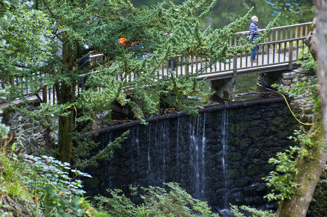 The bridge and waterfall at Bodnant Garden