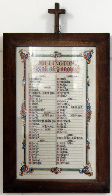 St Mary, Hillington - Roll of Honour