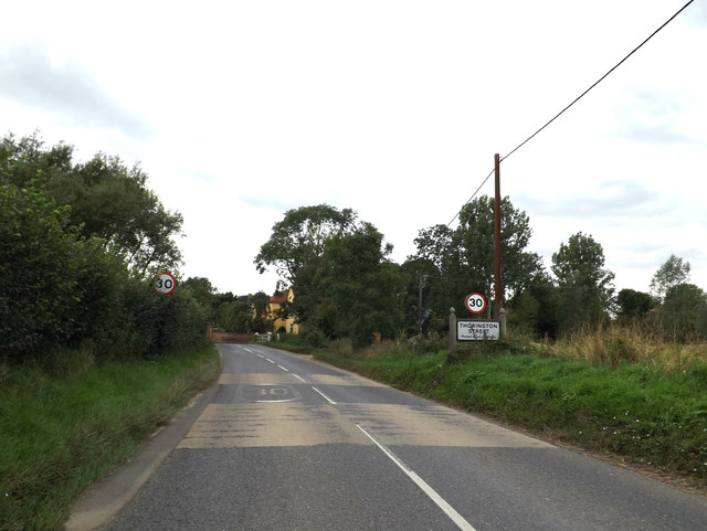 Entering Thorington Street on the B1068