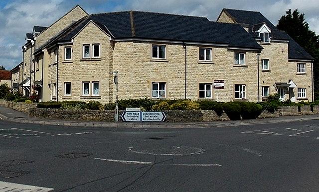 Faded mini-roundabout in Malmesbury