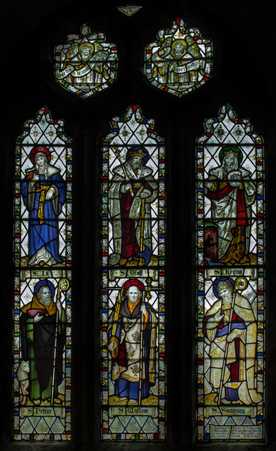 Stained glass window, St Olaf's church, Poughill