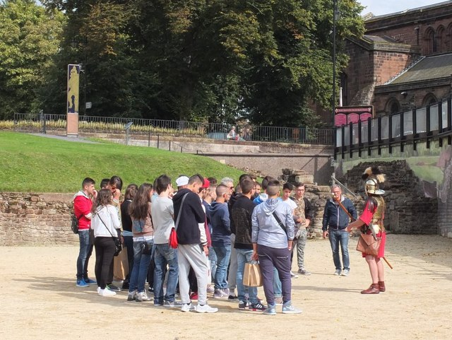 Tourists with Centurion in the Amphitheatre at Chester