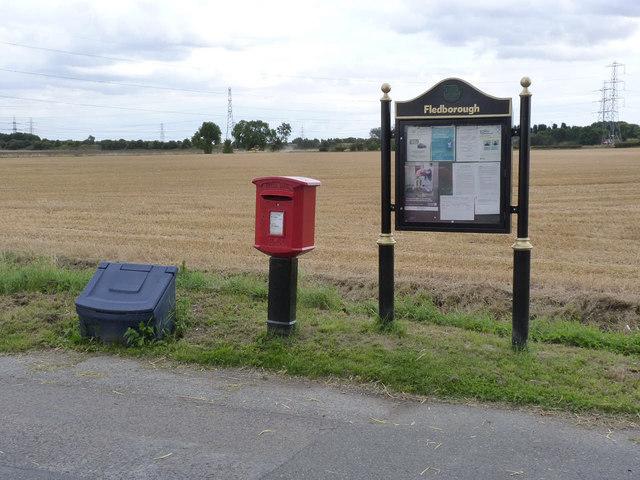 Fledborough postbox ref NG22 166 and village notice board
