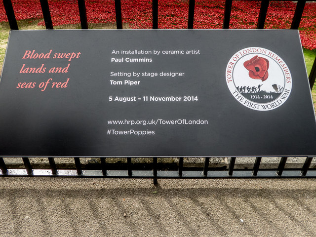 Plaque about Poppies in the Moat, Tower of London, E1