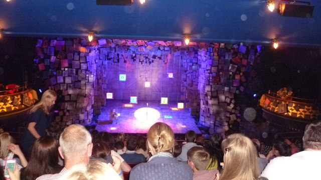 Inside the Cambridge Theatre, during the interval for Matilda