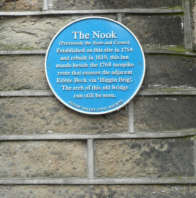 Blue plaque on The Nook