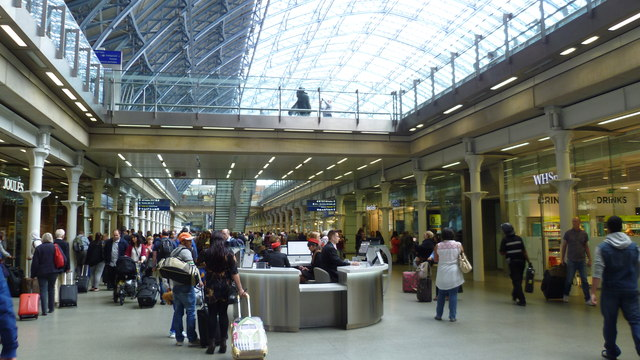 On the concourse below St Pancras railway station