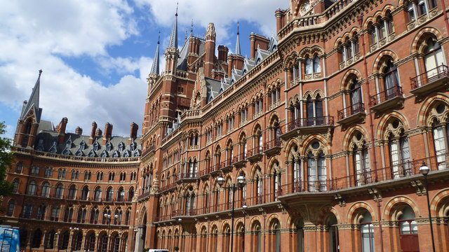 The exterior facade or front of St Pancras railway station, London