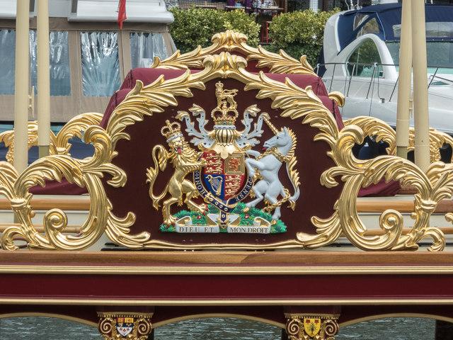 "Coat of Arms on the ""Gloriana"" at  St Katharine Docks, London E1"